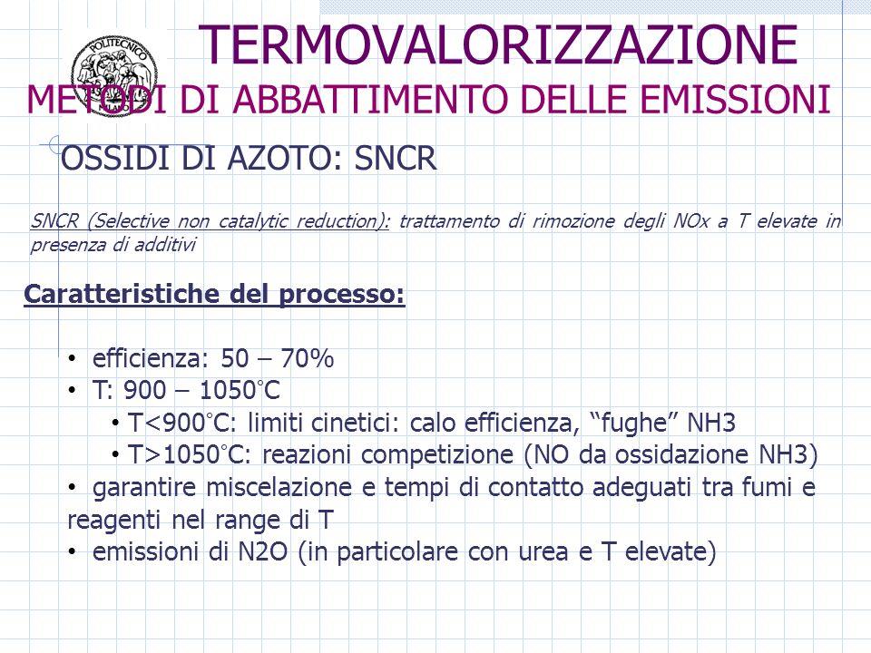 Caratteristiche del processo: efficienza: 50 – 70% T: 900 – 1050°C T<900°C: limiti cinetici: calo efficienza, fughe NH3 T>1050°C: reazioni competizione (NO da ossidazione NH3) garantire miscelazione e tempi di contatto adeguati tra fumi e reagenti nel range di T emissioni di N2O (in particolare con urea e T elevate) SNCR (Selective non catalytic reduction): trattamento di rimozione degli NOx a T elevate in presenza di additivi OSSIDI DI AZOTO: SNCR METODI DI ABBATTIMENTO DELLE EMISSIONI TERMOVALORIZZAZIONE