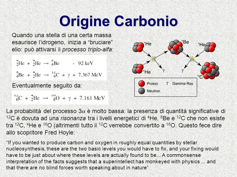 Origine Carbonio Quando una stella di una certa massa esaurisce lidrogeno, inizia a bruciare elio: può attivarsi il processo triplo-alfa: Eventualmente seguito da: La probabilità del processo 3 è molto bassa: la presenza di quantità significative di 12 C è dovuta ad una risonanza tra i livelli energetici di 4 He, 8 Be e 12 C che non esiste tra 12 C, 4 He e 16 O (altrimenti tutto il 12 C verrebbe convertito a 16 O.