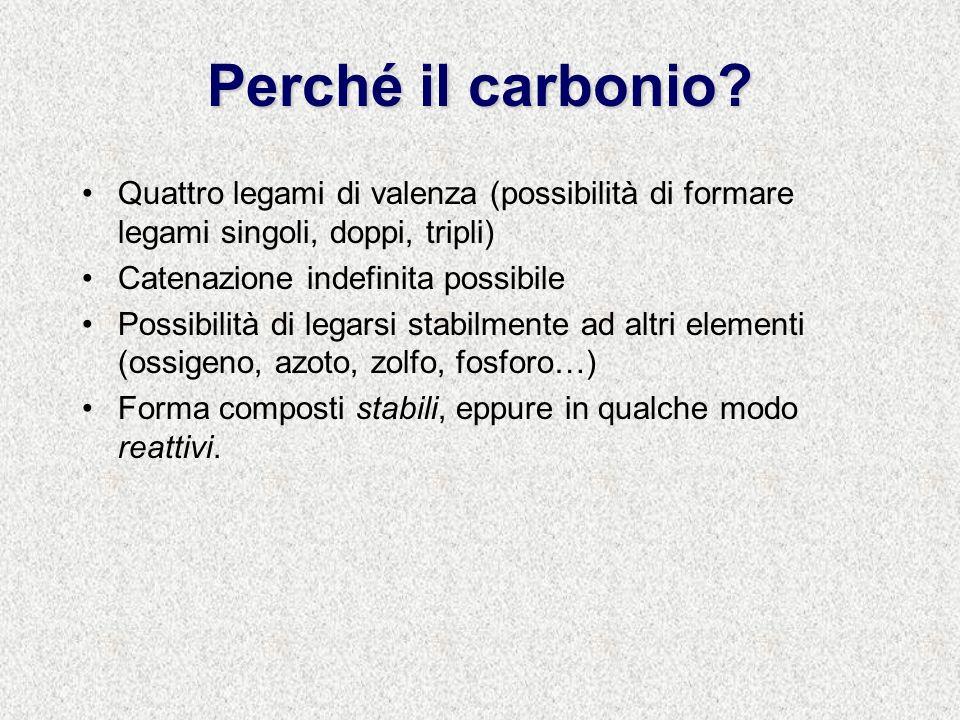 Geometrie al carbonio Contare gli oggetti intorno al carbonio (un oggetto è un legame – singolo, doppio o triplo- o un doppietto elettronico).