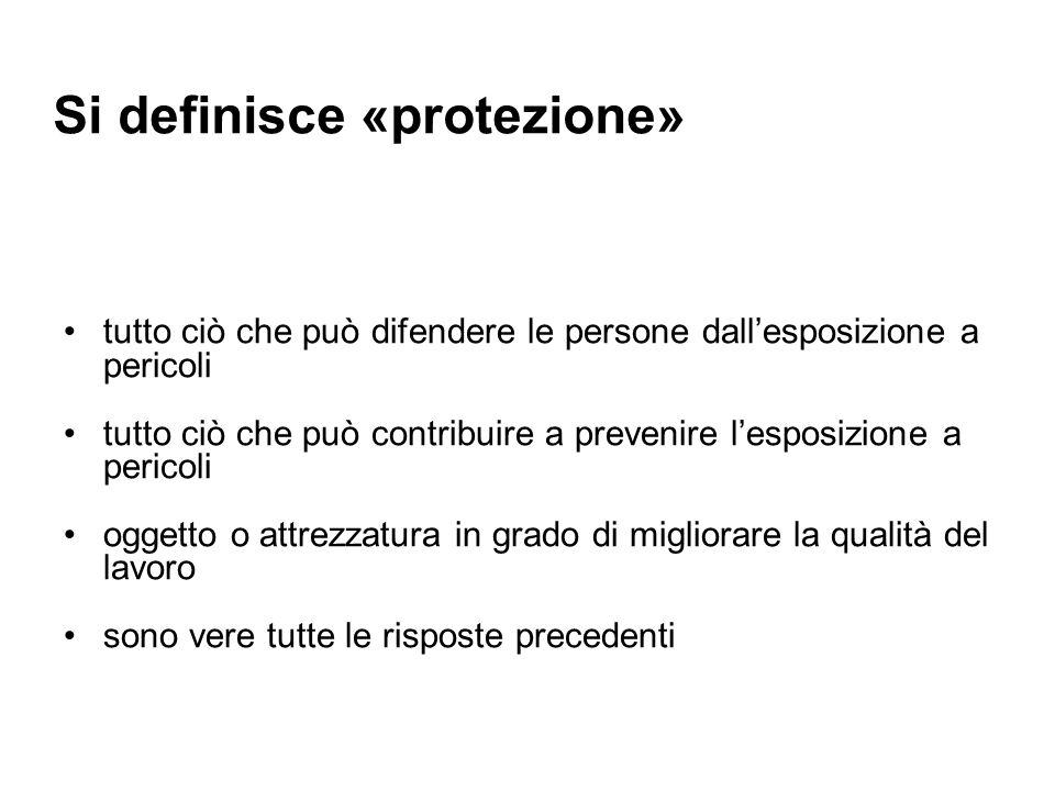 Si definisce «protezione» tutto ciò che può difendere le persone dallesposizione a pericoli tutto ciò che può contribuire a prevenire lesposizione a p