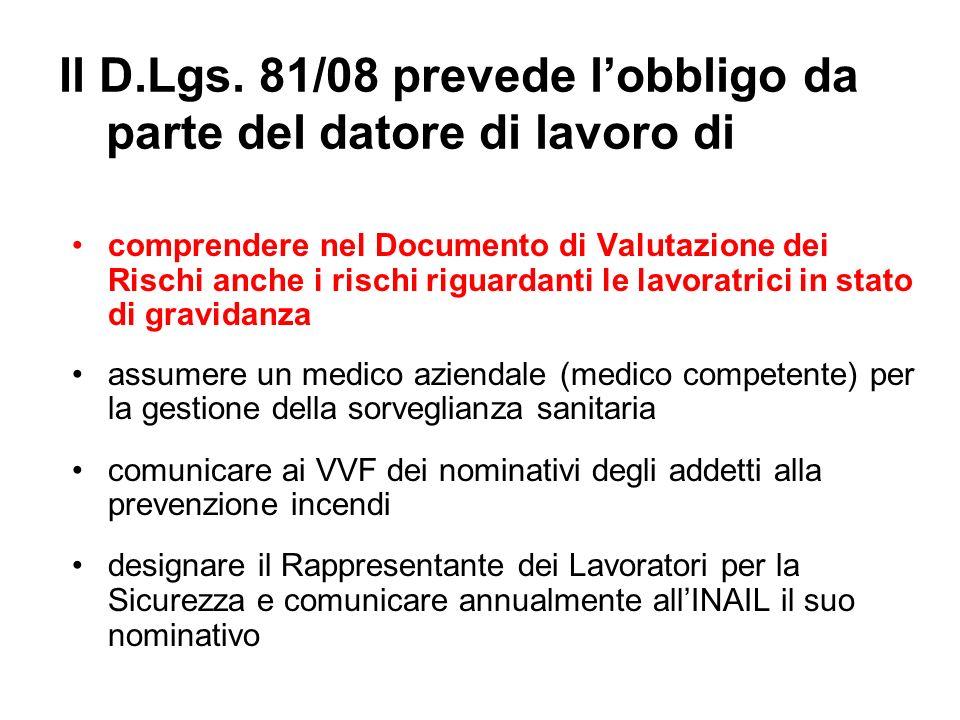 Il D.Lgs. 81/08 prevede lobbligo da parte del datore di lavoro di comprendere nel Documento di Valutazione dei Rischi anche i rischi riguardanti le la