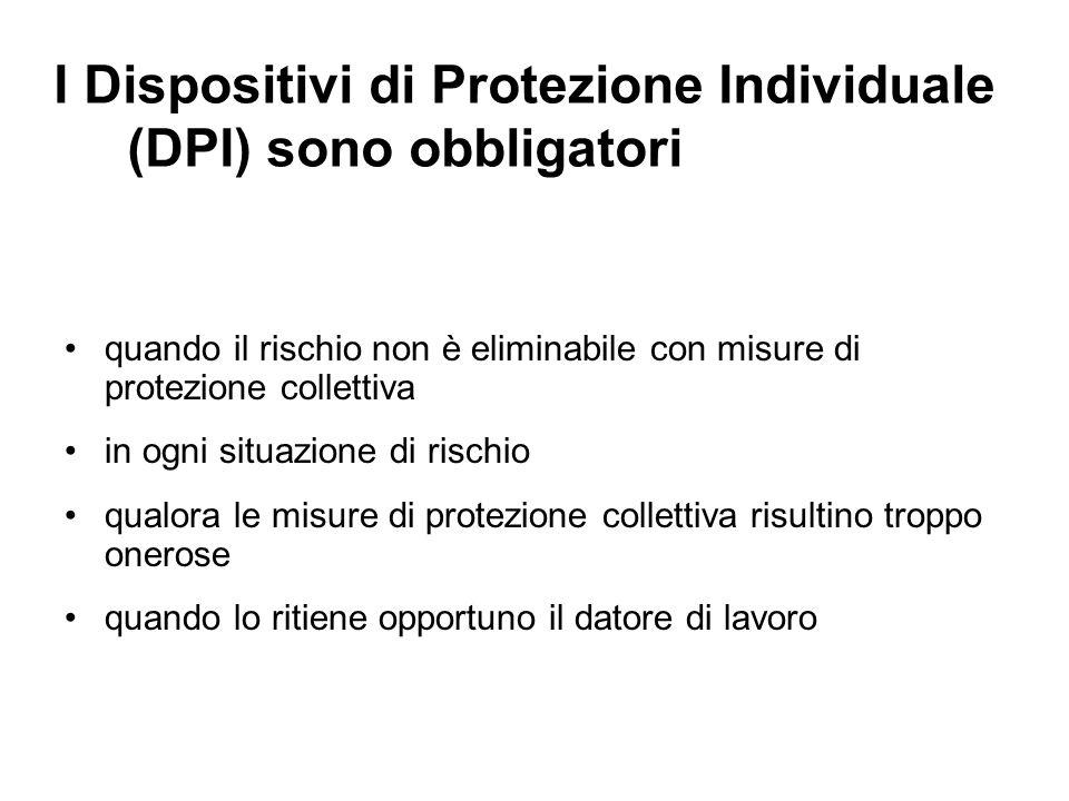I Dispositivi di Protezione Individuale (DPI) sono obbligatori quando il rischio non è eliminabile con misure di protezione collettiva in ogni situazi
