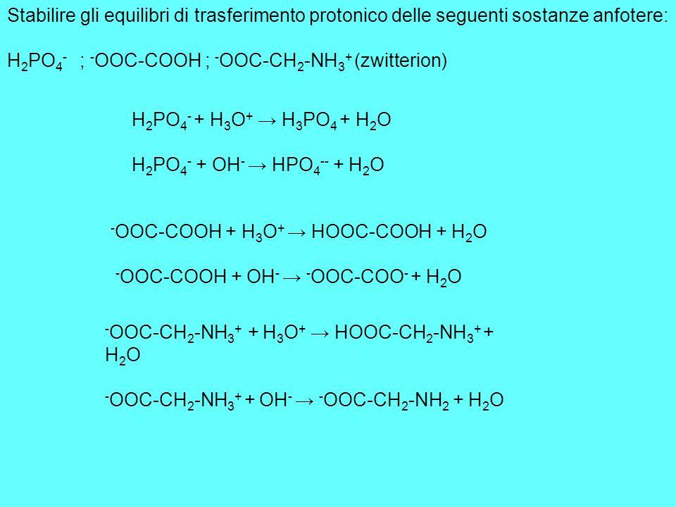 Stabilire gli equilibri di trasferimento protonico delle seguenti sostanze anfotere: H 2 PO 4 - ; - OOC-COOH ; - OOC-CH 2 -NH 3 + (zwitterion) H 2 PO