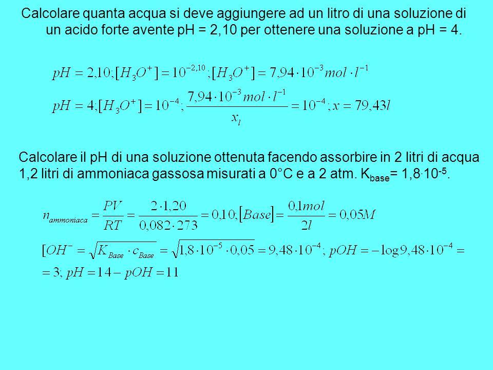 Calcolare quanta acqua si deve aggiungere ad un litro di una soluzione di un acido forte avente pH = 2,10 per ottenere una soluzione a pH = 4. Calcola