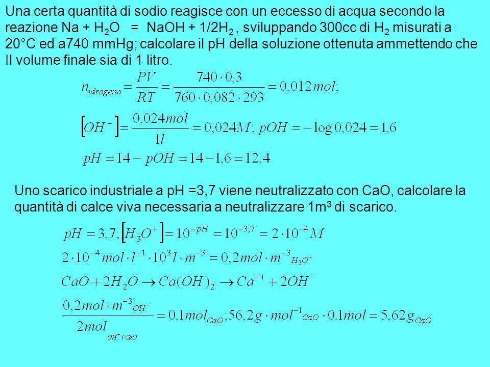 Una certa quantità di sodio reagisce con un eccesso di acqua secondo la reazione Na + H 2 O = NaOH + 1/2H 2, sviluppando 300cc di H 2 misurati a 20°C