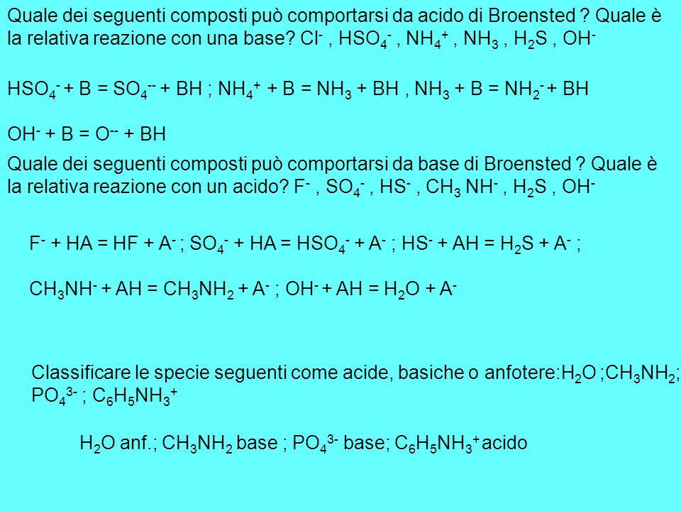 Quale dei seguenti composti può comportarsi da acido di Broensted ? Quale è la relativa reazione con una base? Cl -, HSO 4 -, NH 4 +, NH 3, H 2 S, OH