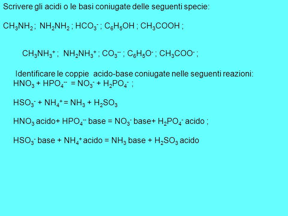 Scrivere gli acidi o le basi coniugate delle seguenti specie: CH 3 NH 2 ; NH 2 NH 2 ; HCO 3 - ; C 6 H 5 OH ; CH 3 COOH ; Identificare le coppie acido-