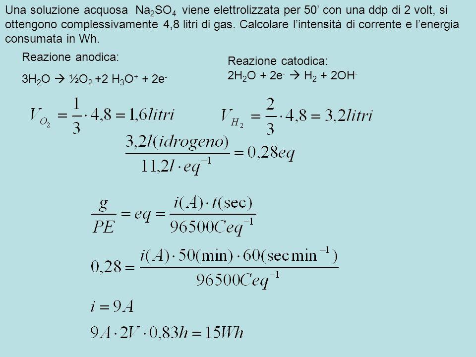 Una soluzione acquosa Na 2 SO 4 viene elettrolizzata per 50 con una ddp di 2 volt, si ottengono complessivamente 4,8 litri di gas. Calcolare lintensit
