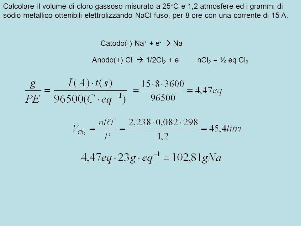 Calcolare i KWh teorici necessari per preparare 1 Kg di alluminio con una ddp di 4,5 volt.