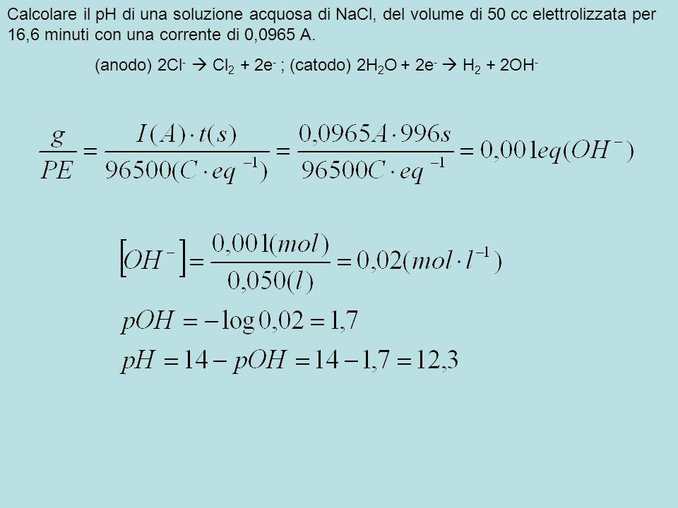 Una soluzione 0,1M di CuSO 4 a pH=1 viene elettrolizzata fra elettrodi inerti.