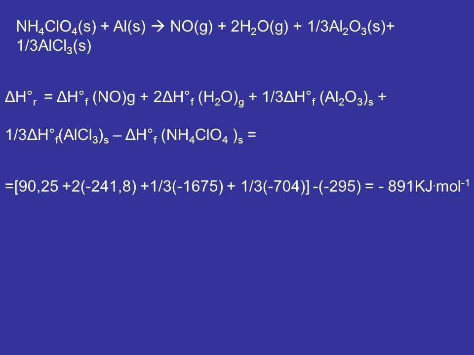 NH 4 ClO 4 (s) + Al(s) NO(g) + 2H 2 O(g) + 1/3Al 2 O 3 (s)+ 1/3AlCl 3 (s) ΔH° r = ΔH° f (NO)g + 2ΔH° f (H 2 O) g + 1/3ΔH° f (Al 2 O 3 ) s + 1/3ΔH° f (