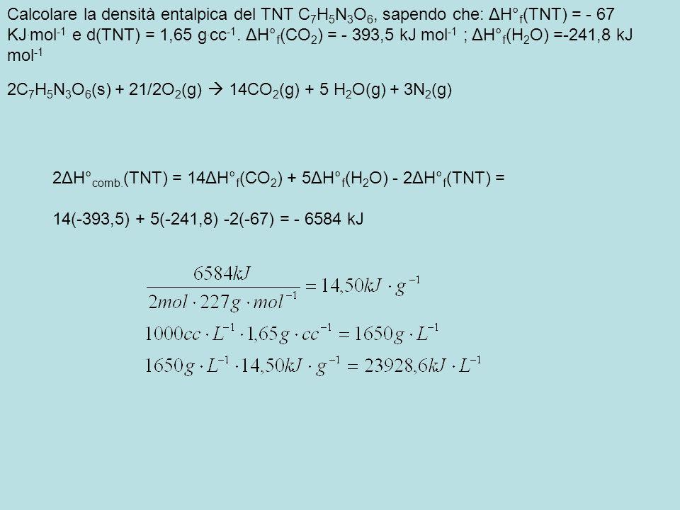 Calcolare la densità entalpica del TNT C 7 H 5 N 3 O 6, sapendo che: ΔH° f (TNT) = - 67 KJ. mol -1 e d(TNT) = 1,65 g. cc -1. ΔH° f (CO 2 ) = - 393,5 k