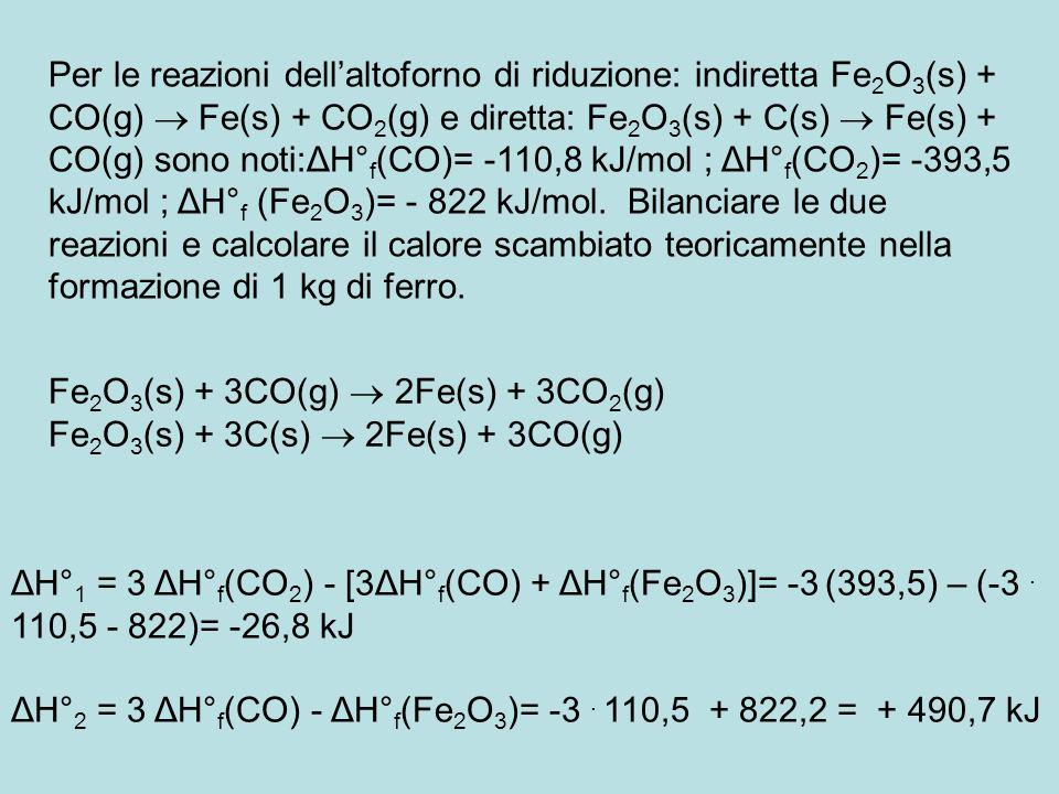 Per le reazioni dellaltoforno di riduzione: indiretta Fe 2 O 3 (s) + CO(g) Fe(s) + CO 2 (g) e diretta: Fe 2 O 3 (s) + C(s) Fe(s) + CO(g) sono noti:ΔH°
