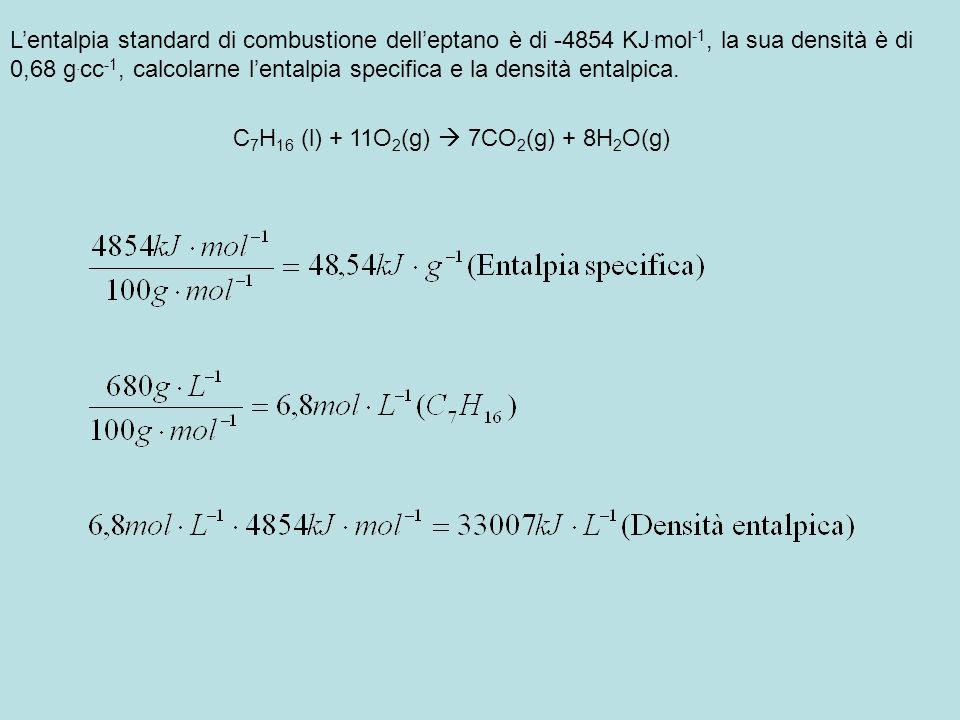 Lentalpia standard di combustione delleptano è di -4854 KJ. mol -1, la sua densità è di 0,68 g. cc -1, calcolarne lentalpia specifica e la densità ent