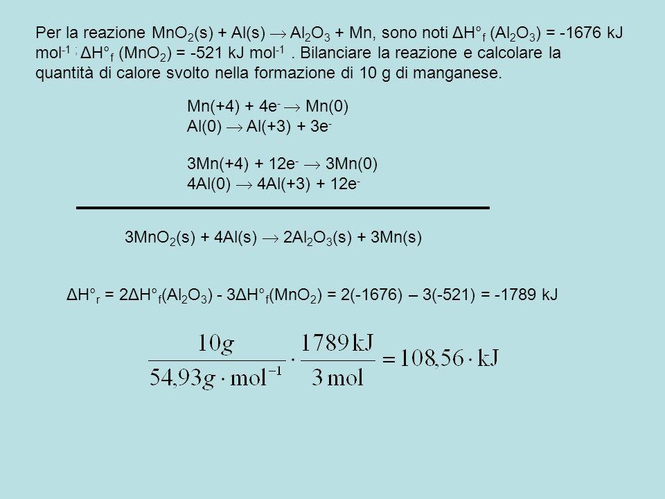 Per la reazione MnO 2 (s) + Al(s) Al 2 O 3 + Mn, sono noti ΔH° f (Al 2 O 3 ) = -1676 kJ mol -1 ; ΔH° f (MnO 2 ) = -521 kJ mol -1. Bilanciare la reazio