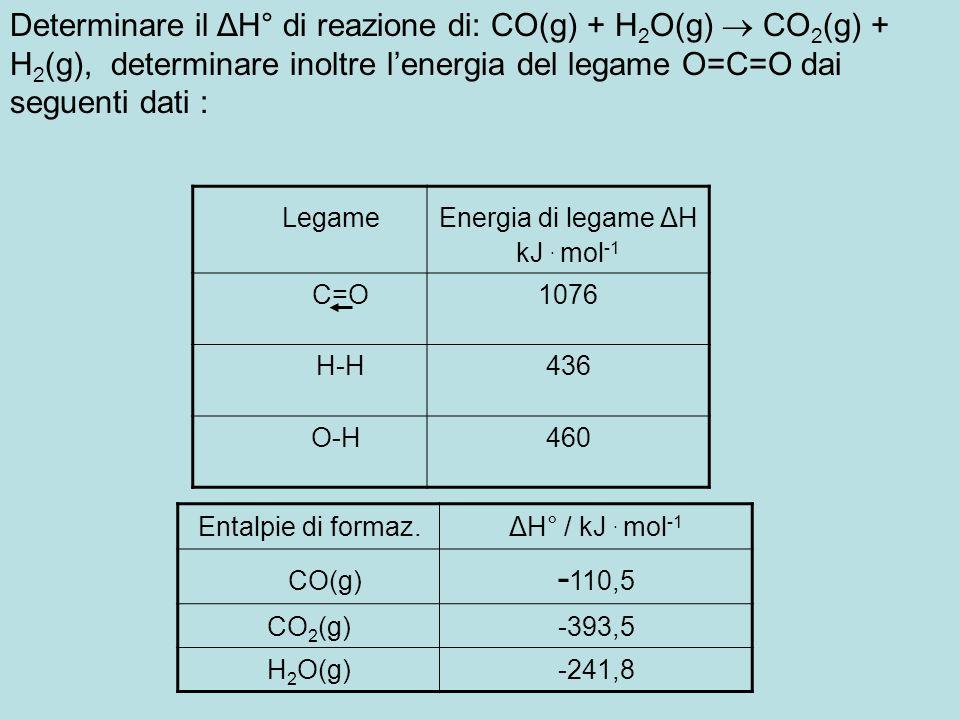 Determinare il ΔH° di reazione di: CO(g) + H 2 O(g) CO 2 (g) + H 2 (g), determinare inoltre lenergia del legame O=C=O dai seguenti dati : LegameEnergi