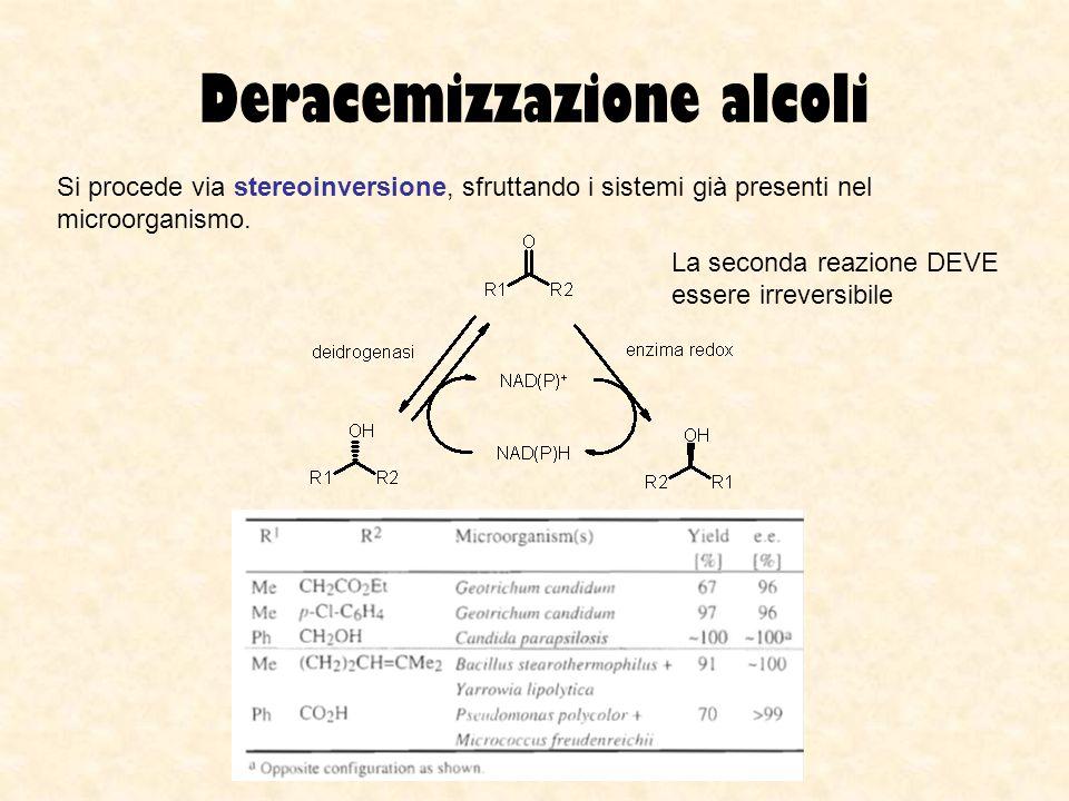 Deracemizzazione alcoli Si procede via stereoinversione, sfruttando i sistemi già presenti nel microorganismo. La seconda reazione DEVE essere irrever
