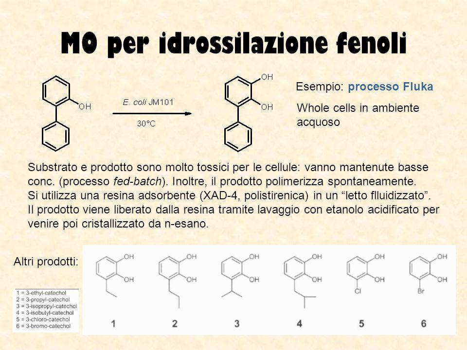 MO per idrossilazione fenoli Esempio: processo Fluka Whole cells in ambiente acquoso Substrato e prodotto sono molto tossici per le cellule: vanno man