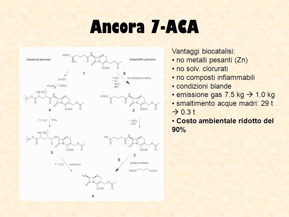 Ancora 7-ACA Vantaggi biocatalisi: no metalli pesanti (Zn) no solv. clorurati no composti infiammabili condizioni blande emissione gas 7.5 kg 1.0 kg s