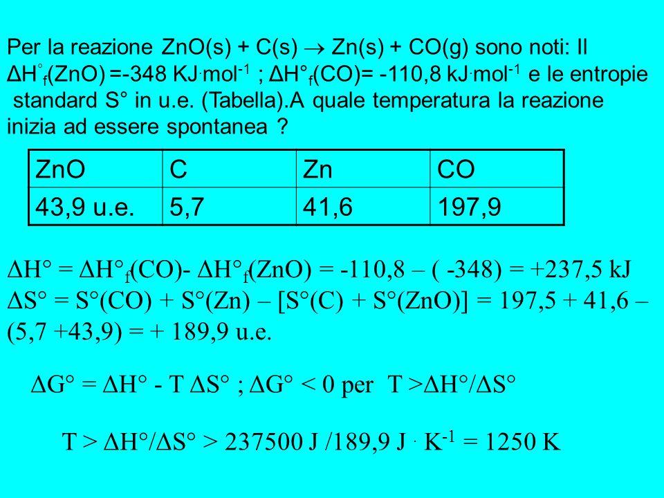 Per le reazioni: C(grafite) + O 2 (g) CO 2 (g) C(diamante) + O 2 (g) CO 2 (g) sono note le seguenti ental- pie di reazione: -94,0518 kcal e -94,5051 kcal.