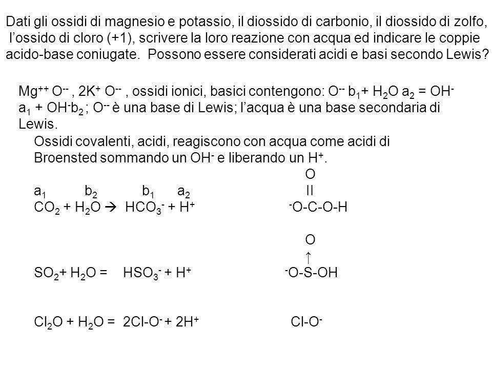 Dati gli ossidi di magnesio e potassio, il diossido di carbonio, il diossido di zolfo, lossido di cloro (+1), scrivere la loro reazione con acqua ed i