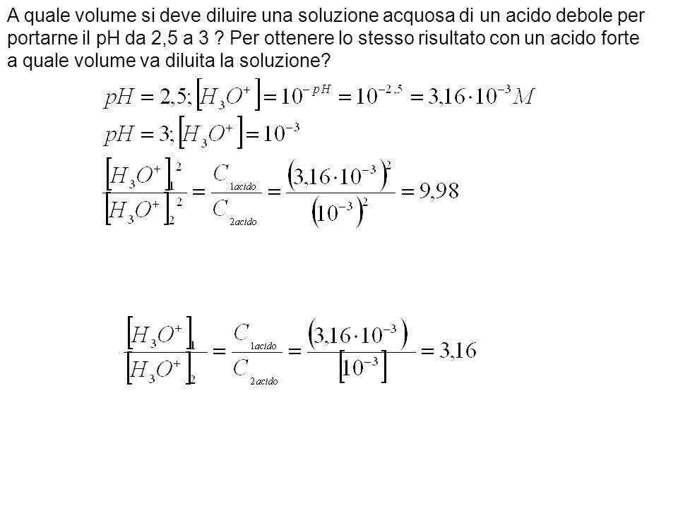 A quale volume si deve diluire una soluzione acquosa di un acido debole per portarne il pH da 2,5 a 3 ? Per ottenere lo stesso risultato con un acido