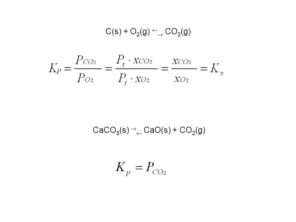 C(s) + O 2 (g) CO 2 (g) CaCO 3 (s) CaO(s) + CO 2 (g)