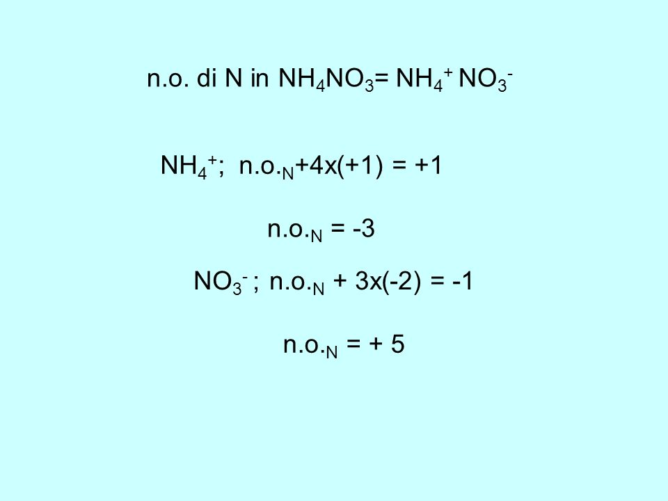 n.o. di N in NH 4 NO 3 = NH 4 + NO 3 - NH 4 + ; n.o. N +4x(+1) = +1 n.o. N = -3 NO 3 - ; n.o. N + 3x(-2) = -1 n.o. N = + 5