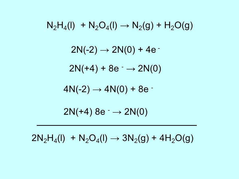 N 2 H 4 (l) + N 2 O 4 (l) N 2 (g) + H 2 O(g) 2N(-2) 2N(0) + 4e - 2N(+4) + 8e - 2N(0) 4N(-2) 4N(0) + 8e - 2N(+4) 8e - 2N(0) 2N 2 H 4 (l) + N 2 O 4 (l)