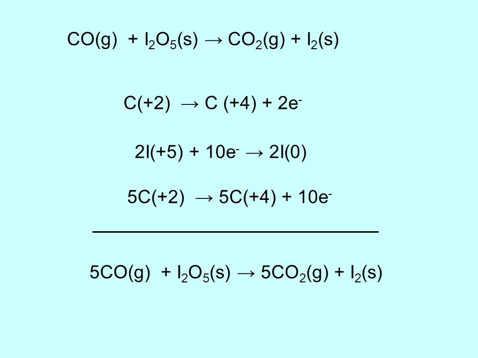 CO(g) + I 2 O 5 (s) CO 2 (g) + I 2 (s) C(+2) C (+4) + 2e - 2I(+5) + 10e - 2I(0) 5C(+2) 5C(+4) + 10e - 5CO(g) + I 2 O 5 (s) 5CO 2 (g) + I 2 (s)