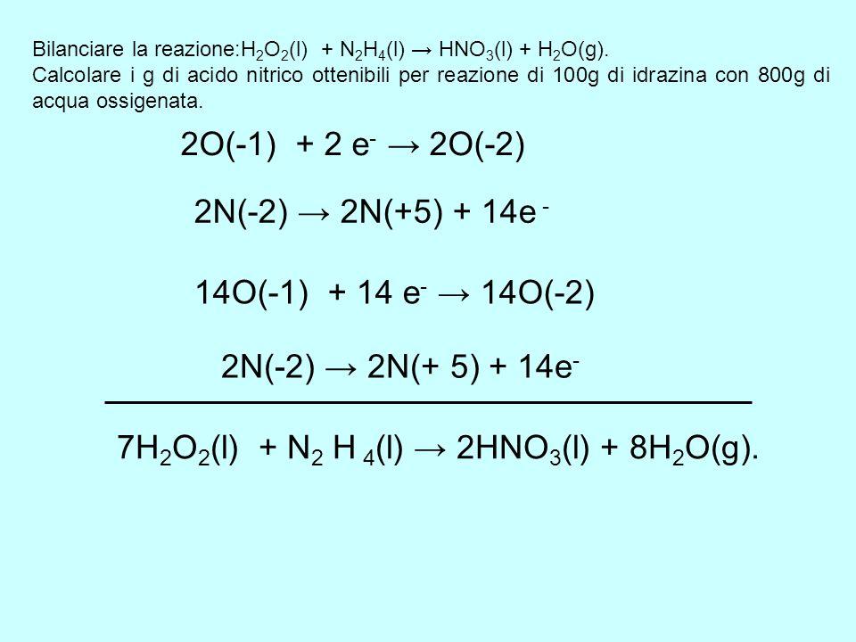 Bilanciare la reazione:H 2 O 2 (l) + N 2 H 4 (l) HNO 3 (l) + H 2 O(g). Calcolare i g di acido nitrico ottenibili per reazione di 100g di idrazina con
