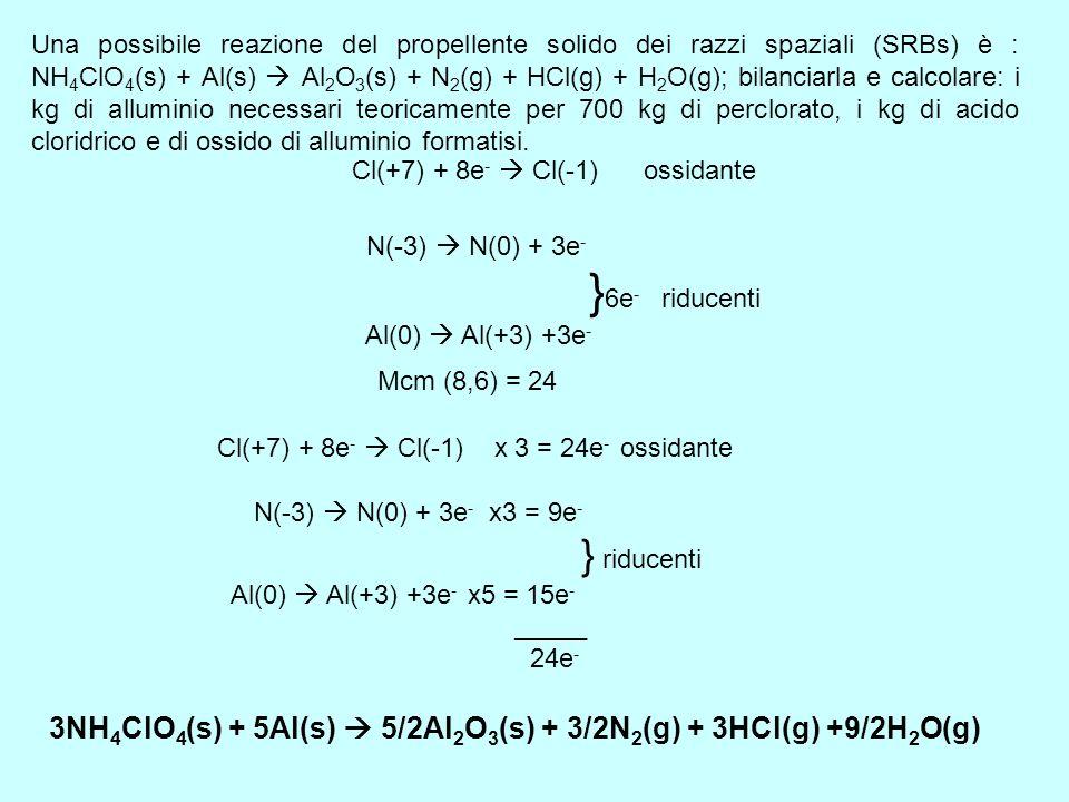 Una possibile reazione del propellente solido dei razzi spaziali (SRBs) è : NH 4 ClO 4 (s) + Al(s) Al 2 O 3 (s) + N 2 (g) + HCl(g) + H 2 O(g); bilanci