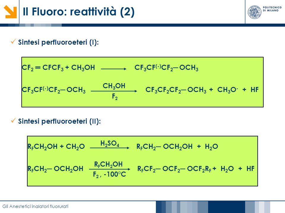 Caratterizzazione di film anodici di biossido di titanio mediante EIS Il Fluoro: reattività (2) Gli Anestetici inalatori fluorurati Sintesi perfluoroe