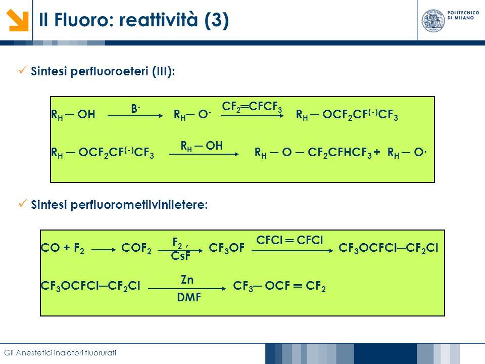 Caratterizzazione di film anodici di biossido di titanio mediante EIS Il Fluoro: reattività (3) Gli Anestetici inalatori fluorurati Sintesi perfluorom