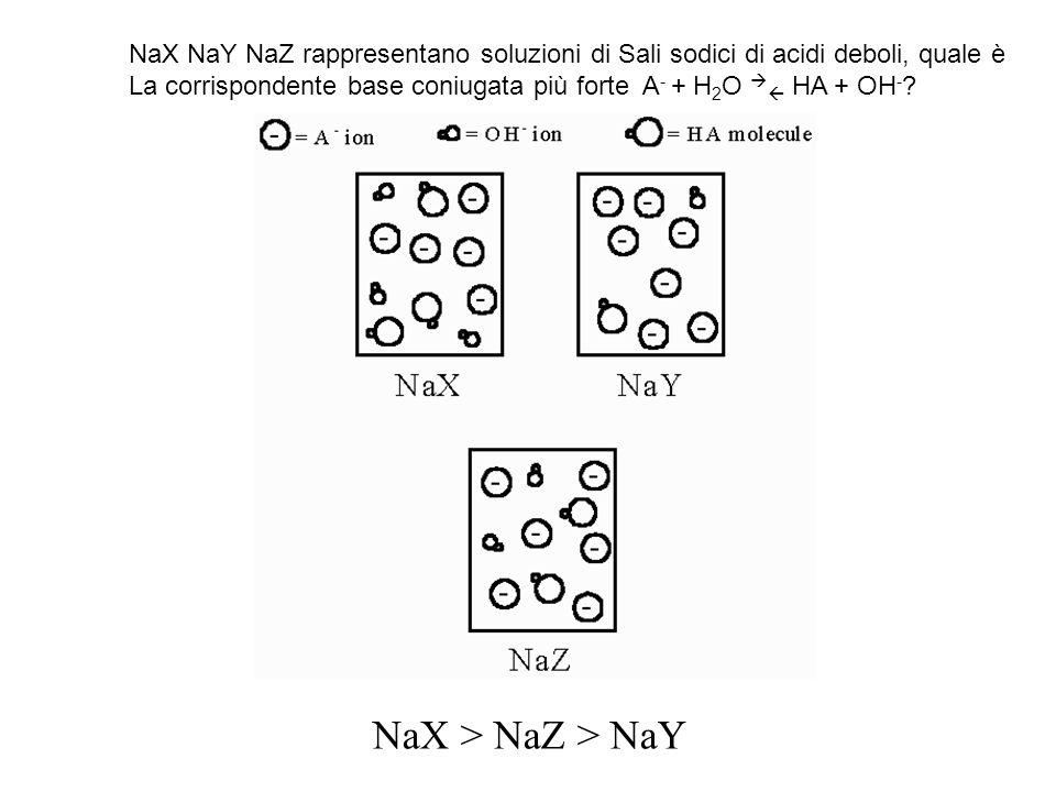 NaX NaY NaZ rappresentano soluzioni di Sali sodici di acidi deboli, quale è La corrispondente base coniugata più forte A - + H 2 O HA + OH - .