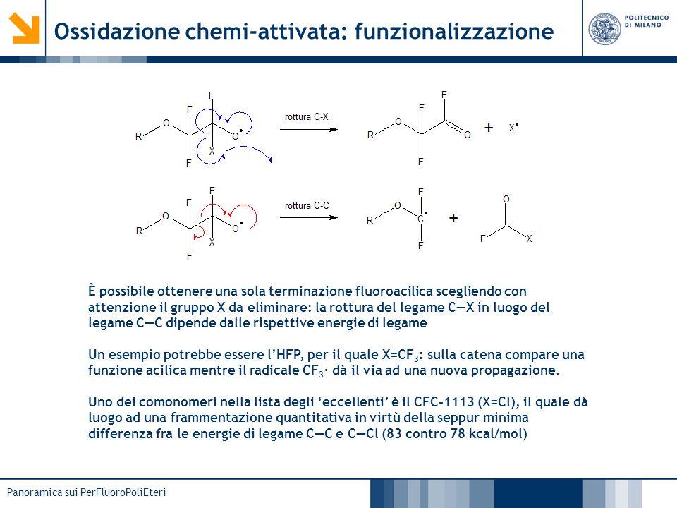 Panoramica sui PerFluoroPoliEteri Ossidazione chemi-attivata: funzionalizzazione È possibile ottenere una sola terminazione fluoroacilica scegliendo c