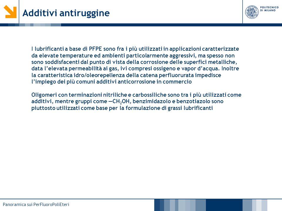 Panoramica sui PerFluoroPoliEteri Additivi antiruggine I lubrificanti a base di PFPE sono fra i più utilizzati in applicazioni caratterizzate da eleva