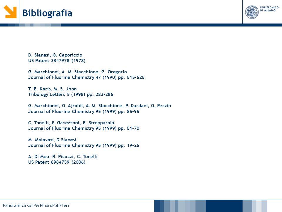 Panoramica sui PerFluoroPoliEteri Bibliografia D. Sianesi, G. Caporiccio US Patent 3847978 (1978) G. Marchionni, A. M. Stacchione, G. Gregorio Journal