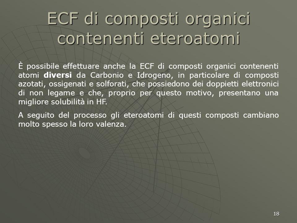 18 ECF di composti organici contenenti eteroatomi È possibile effettuare anche la ECF di composti organici contenenti atomi diversi da Carbonio e Idro
