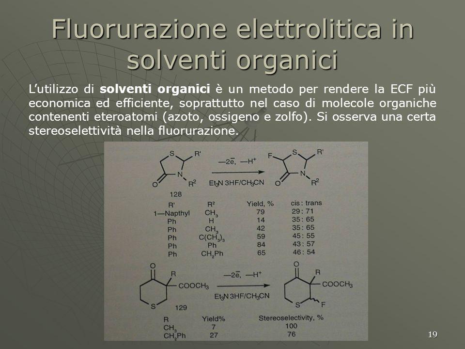 19 Fluorurazione elettrolitica in solventi organici Lutilizzo di solventi organici è un metodo per rendere la ECF più economica ed efficiente, sopratt