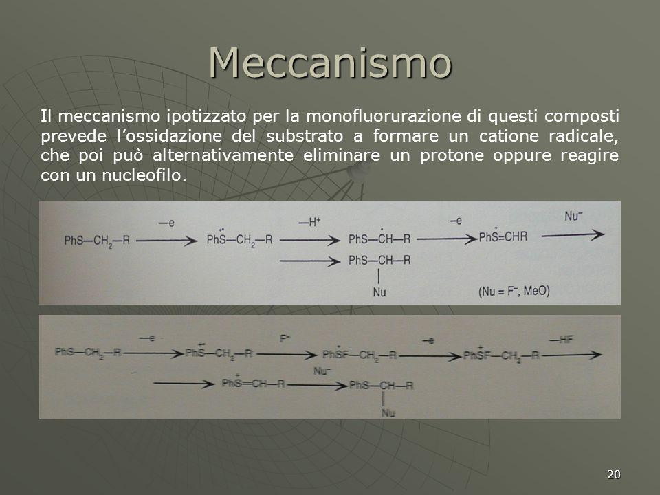 20 Meccanismo Il meccanismo ipotizzato per la monofluorurazione di questi composti prevede lossidazione del substrato a formare un catione radicale, c