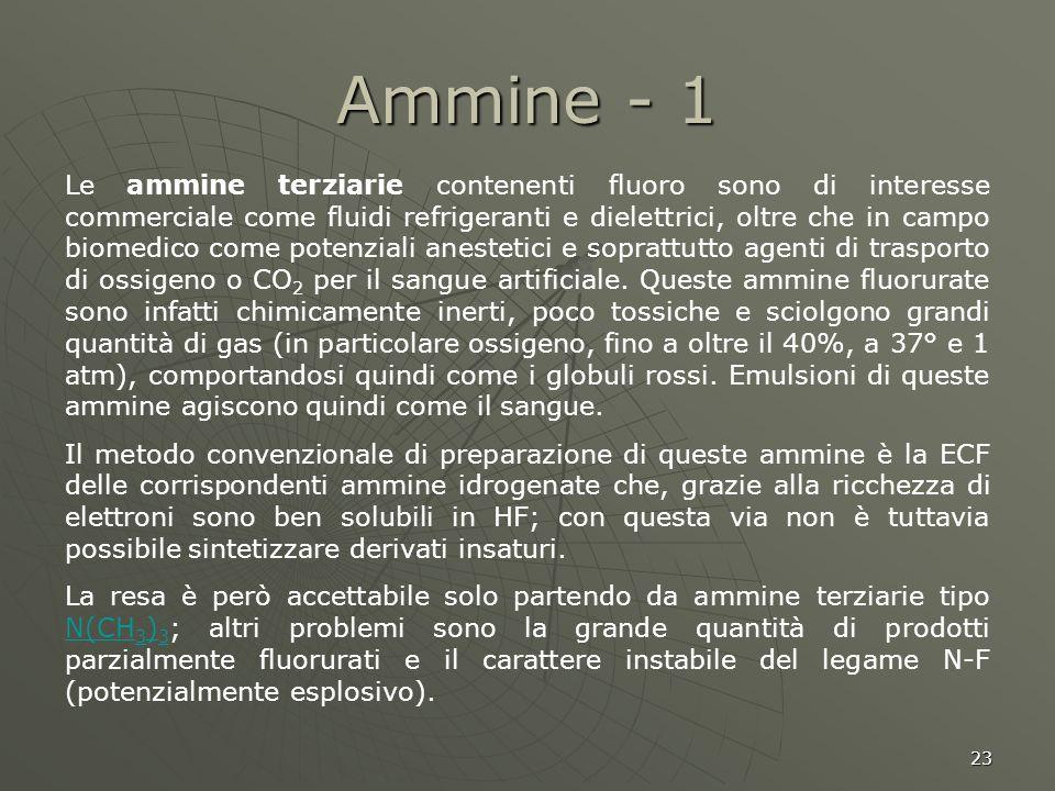 23 Ammine - 1 Le ammine terziarie contenenti fluoro sono di interesse commerciale come fluidi refrigeranti e dielettrici, oltre che in campo biomedico