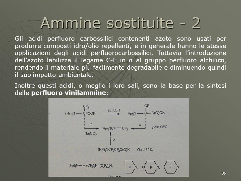 28 Ammine sostituite - 2 Gli acidi perfluoro carbossilici contenenti azoto sono usati per produrre composti idro/olio repellenti, e in generale hanno