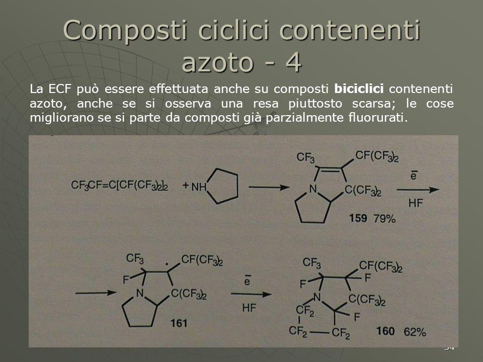 34 Composti ciclici contenenti azoto - 4 La ECF può essere effettuata anche su composti biciclici contenenti azoto, anche se si osserva una resa piutt