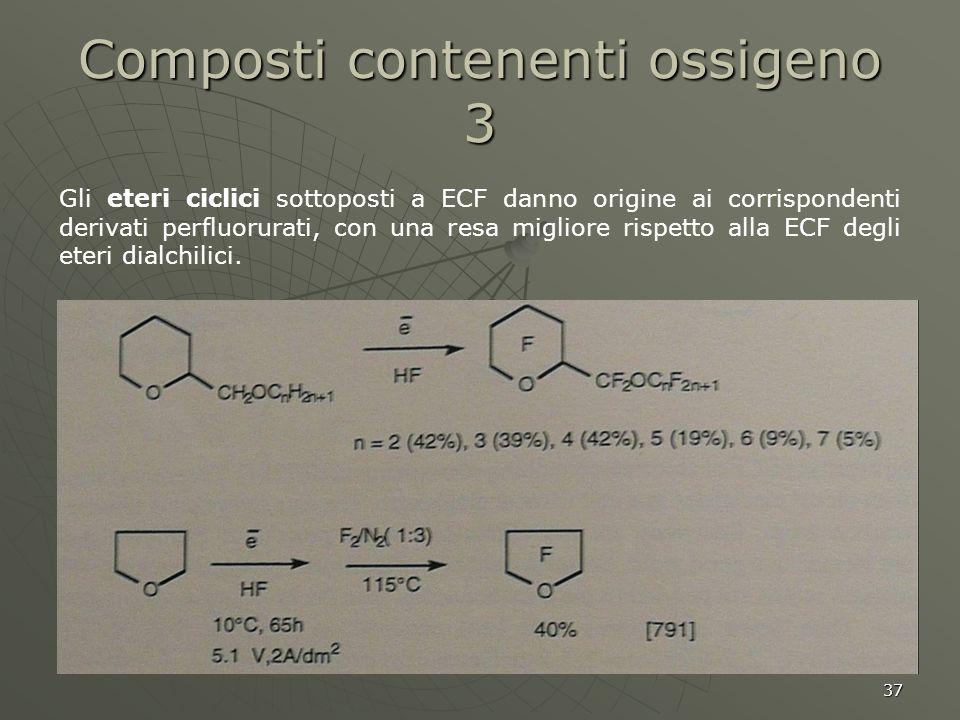 37 Gli eteri ciclici sottoposti a ECF danno origine ai corrispondenti derivati perfluorurati, con una resa migliore rispetto alla ECF degli eteri dial