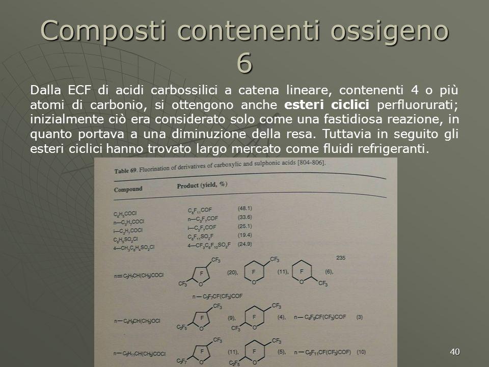 40 Composti contenenti ossigeno 6 Dalla ECF di acidi carbossilici a catena lineare, contenenti 4 o più atomi di carbonio, si ottengono anche esteri ci