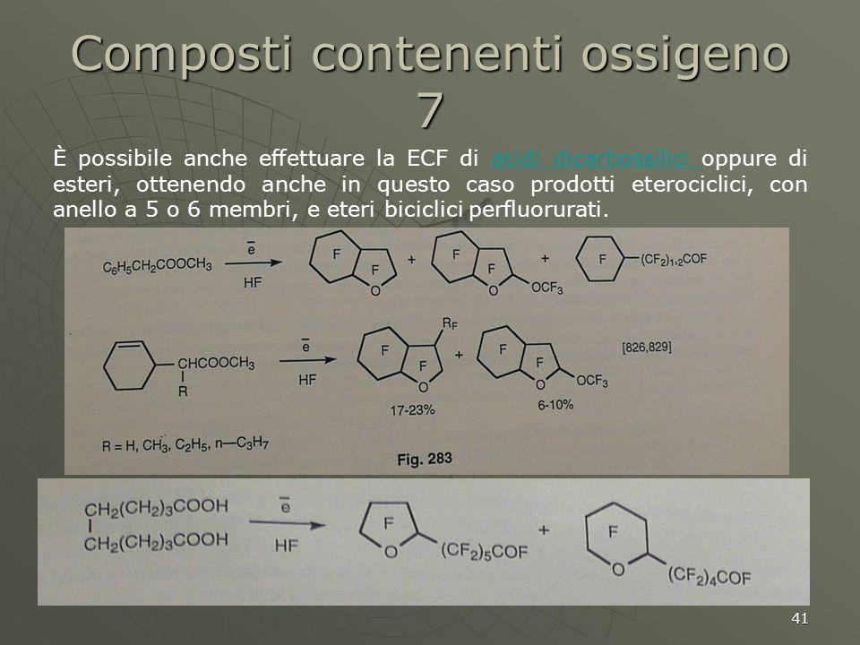 41 Composti contenenti ossigeno 7 È possibile anche effettuare la ECF di acidi dicarbossilici oppure di esteri, ottenendo anche in questo caso prodott