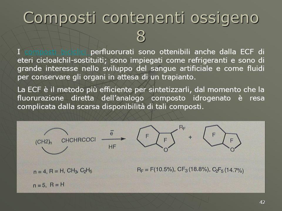 42 Composti contenenti ossigeno 8 I composti biciclici perfluorurati sono ottenibili anche dalla ECF di eteri cicloalchil-sostituiti; sono impiegati c