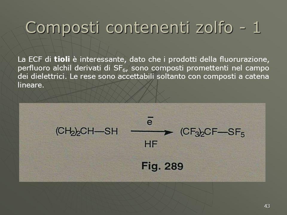 43 Composti contenenti zolfo - 1 La ECF di tioli è interessante, dato che i prodotti della fluorurazione, perfluoro alchil derivati di SF 6, sono comp