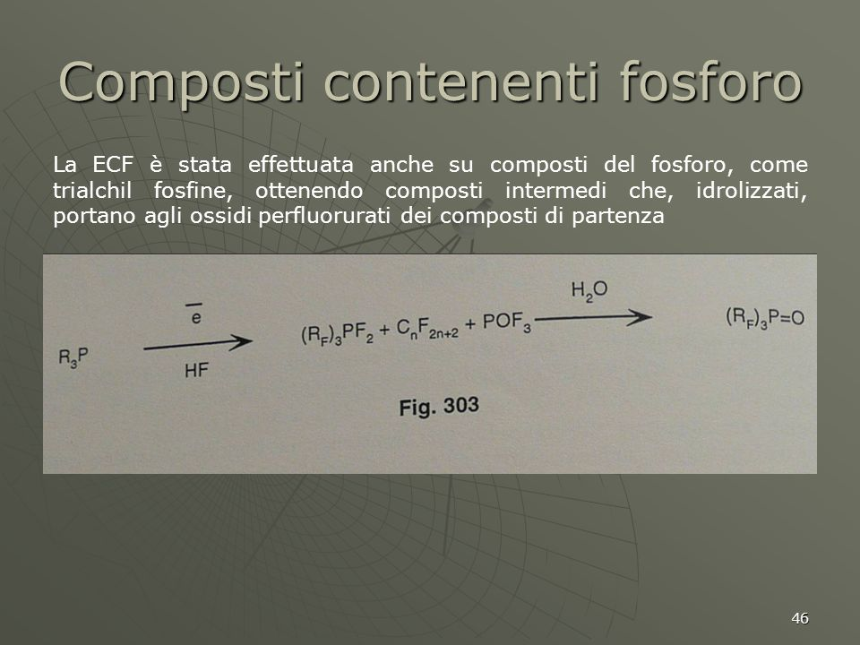46 Composti contenenti fosforo La ECF è stata effettuata anche su composti del fosforo, come trialchil fosfine, ottenendo composti intermedi che, idro